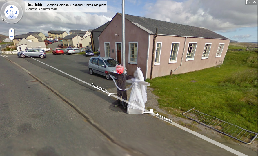 Scarecrow Newlyweds via Google Street View/? | Google Street ... on google car sightings, chinese dragon sightings, street view sightings, international space station sightings,