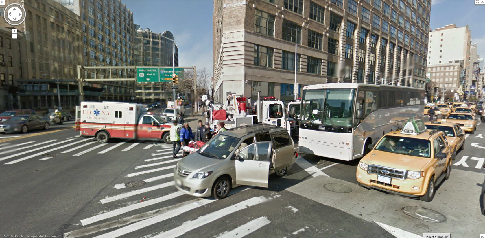 nasty accident captured by ny street view google street. Black Bedroom Furniture Sets. Home Design Ideas