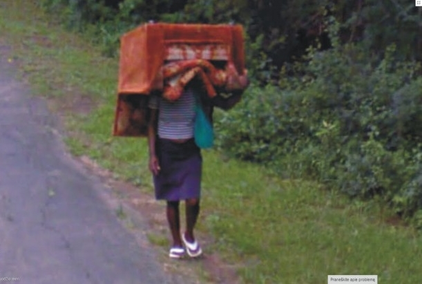 Can this lady see where she is going?