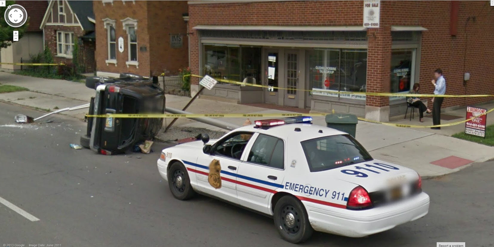 yet another flipped car via google street view google street view world funny street view. Black Bedroom Furniture Sets. Home Design Ideas