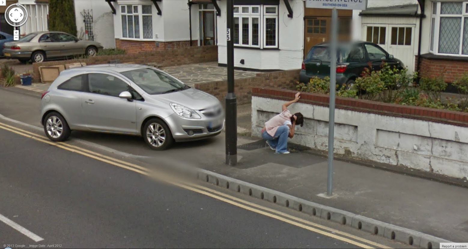 Google Street View UK Captures a Lady Vomiting = Nasty
