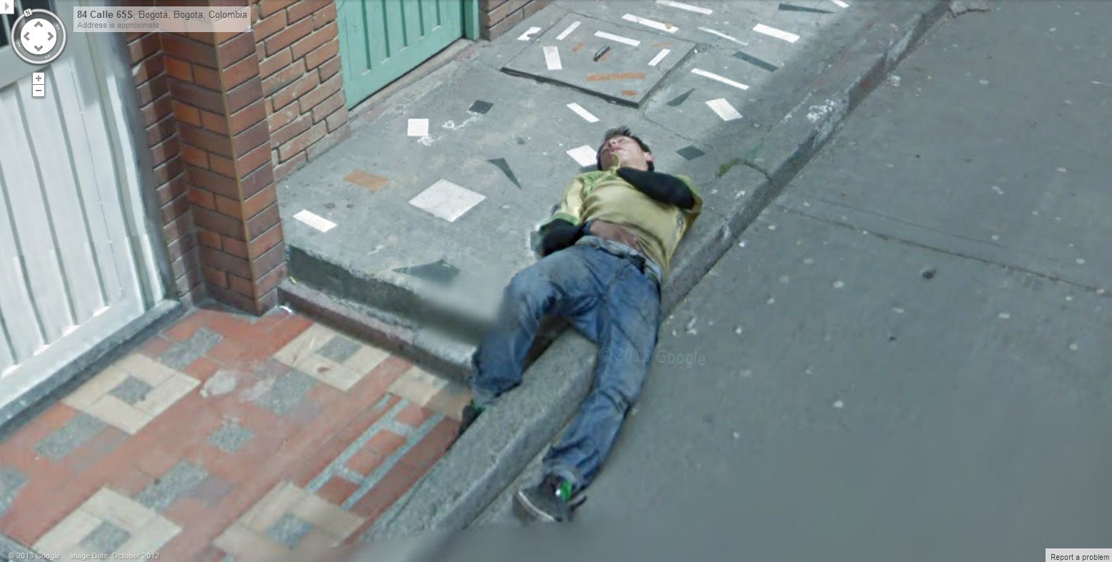 Is this Colombian Man Dead or Sleeping? | Google Street View World Dead On Google Maps Address on
