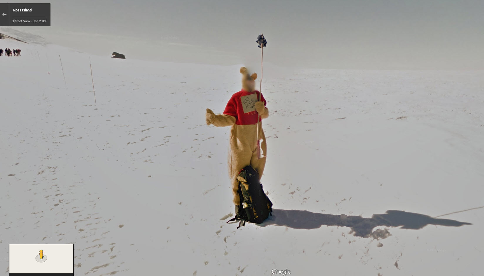 Winnie the Pooh cosplayer hitchhiking to 100 Acre Wood in Antarctica