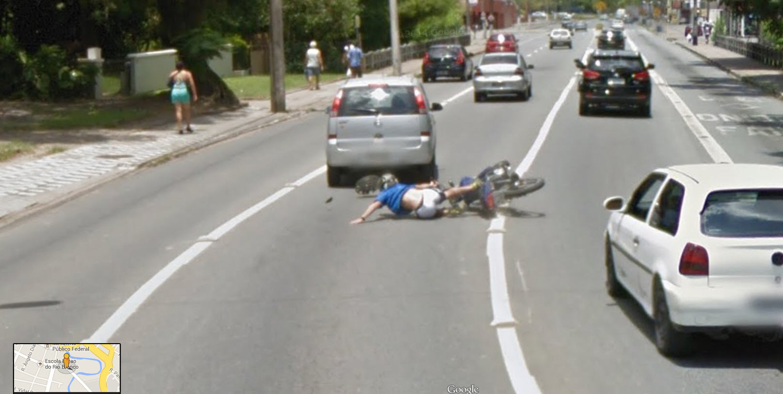 dead guy on google maps coordinates with Motorcycle Accident Captured Frame By Frame Via Google Street View on Motorcycle Accident Captured Frame By Frame Via Google Street View further Shocking Discovered Google Earth Maps Caught On Camera Pictures furthermore Model Photo Bombing Google Street View besides Guatemala Sinkhole 2010 moreover Watch.