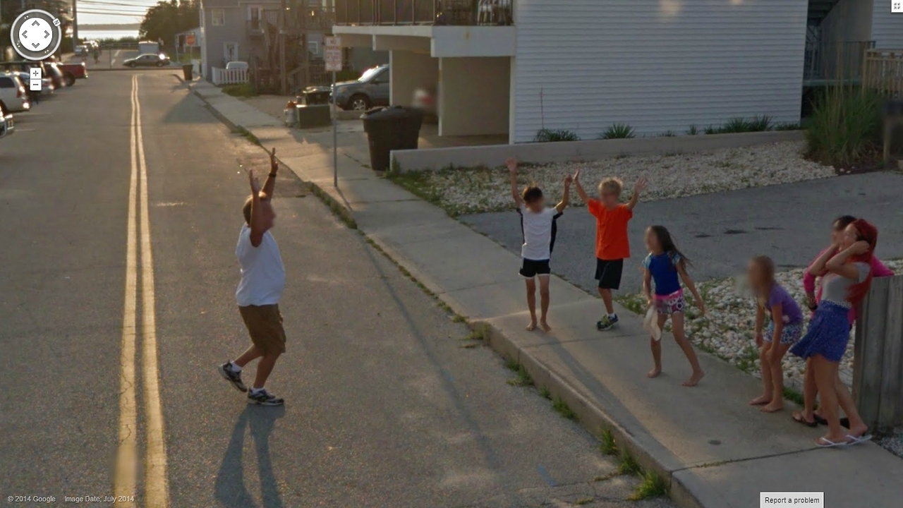 Family performs the Wave for Google Street View