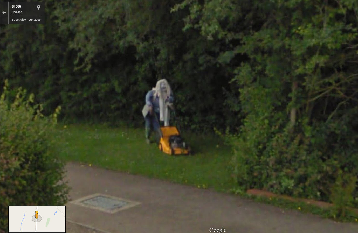 Strange outfit for lawnmowing