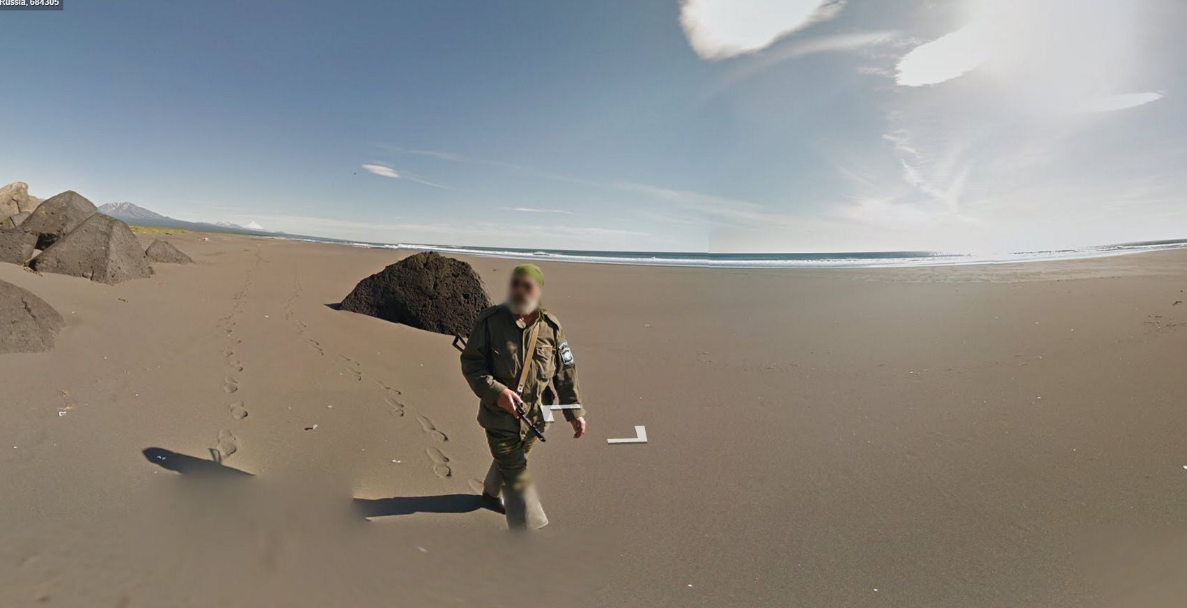 Google Street View Escorted with Armed Soldier in Russia