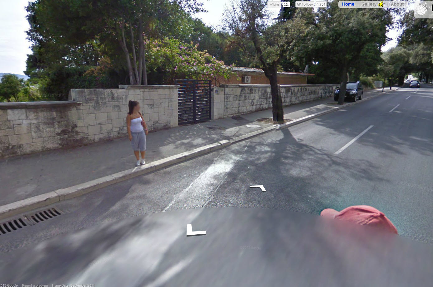 Busted! Google Street View Trike Rider Rubberneck