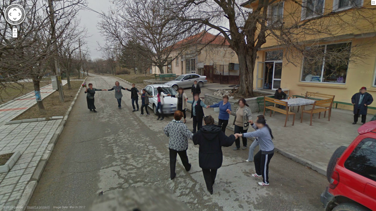Bulgarian Women Dancing in the Street