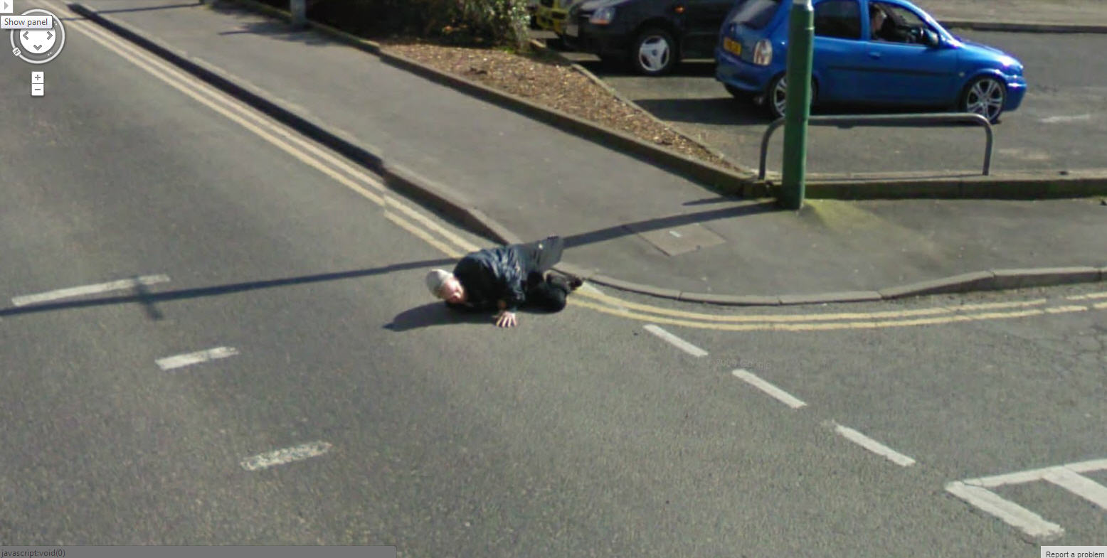 Google Street View Face Plant (literally)