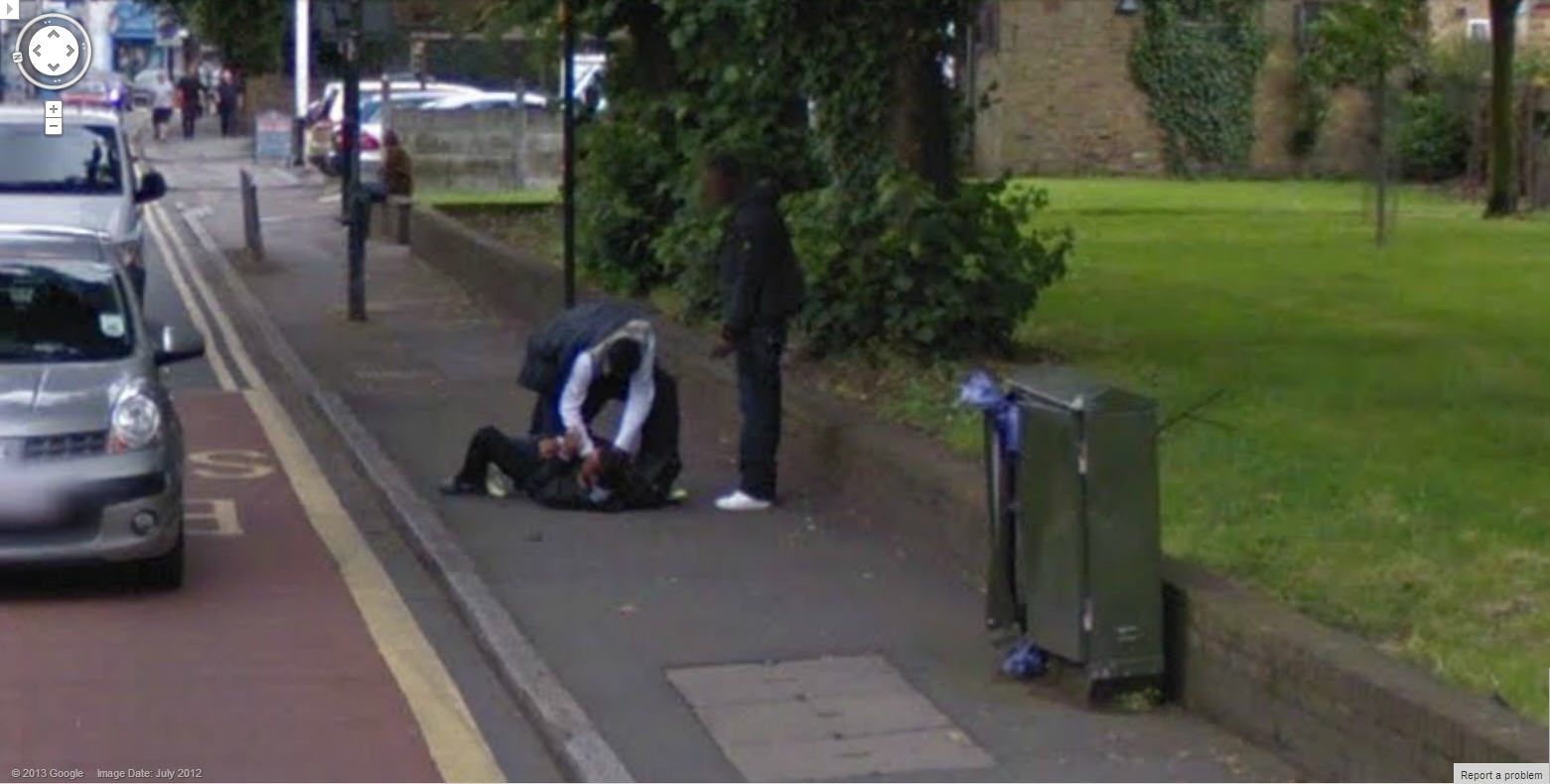 Guy getting Beat Up on Google Street View