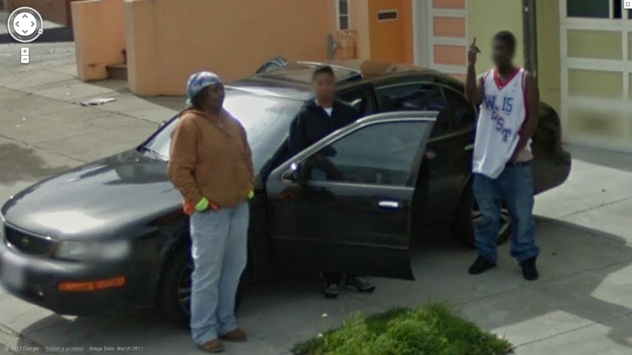 Another Thug Fingering the Street View Car