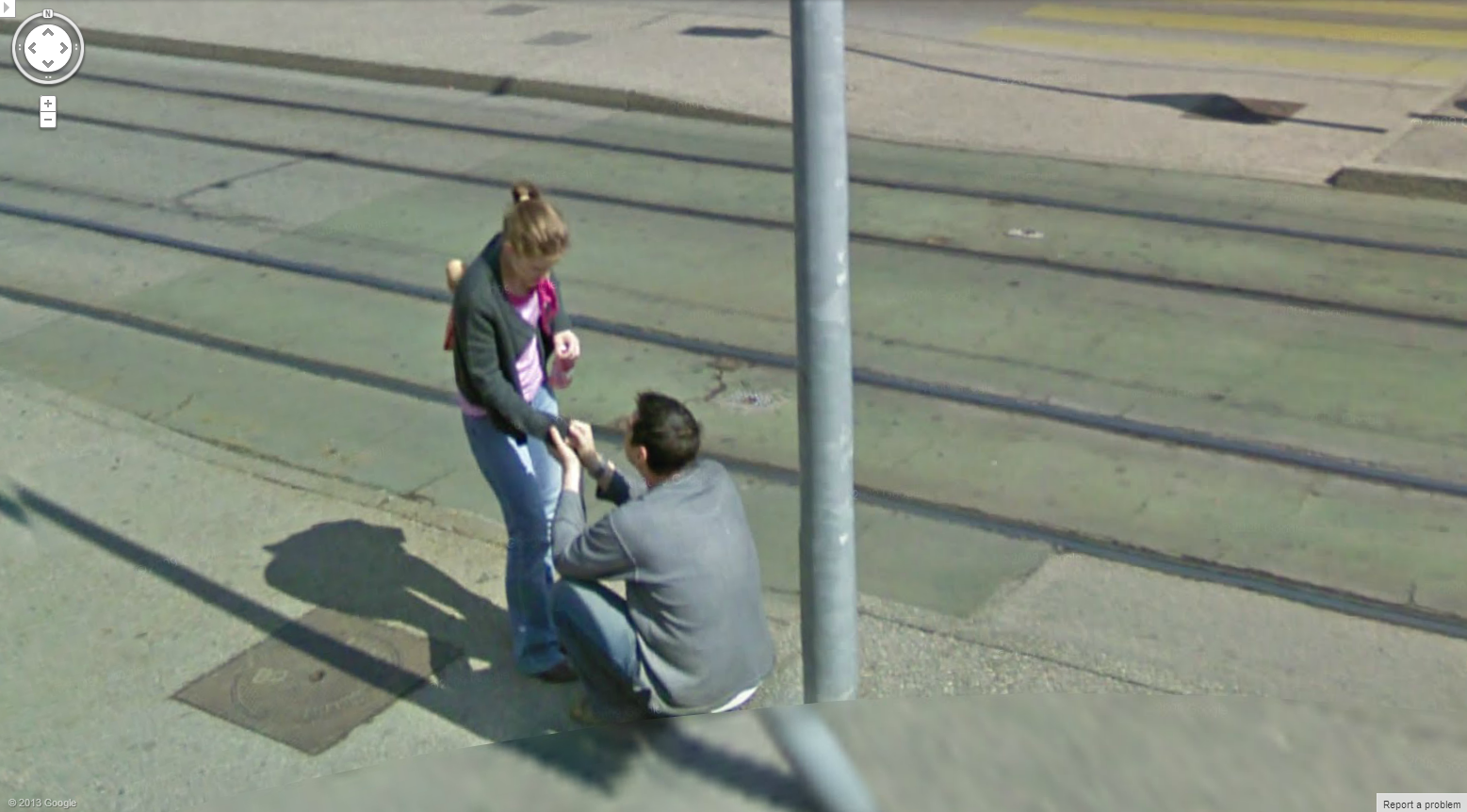 google maps street view on iphone with Did Google Street View Capture A Swiss Marriage Proposal on Geoguessr further Perhaps To Much Slivovitz Sljivovica Last Night as well Are Those Real further Serious Russian Cat Fight as well Nice Girl In Poland.