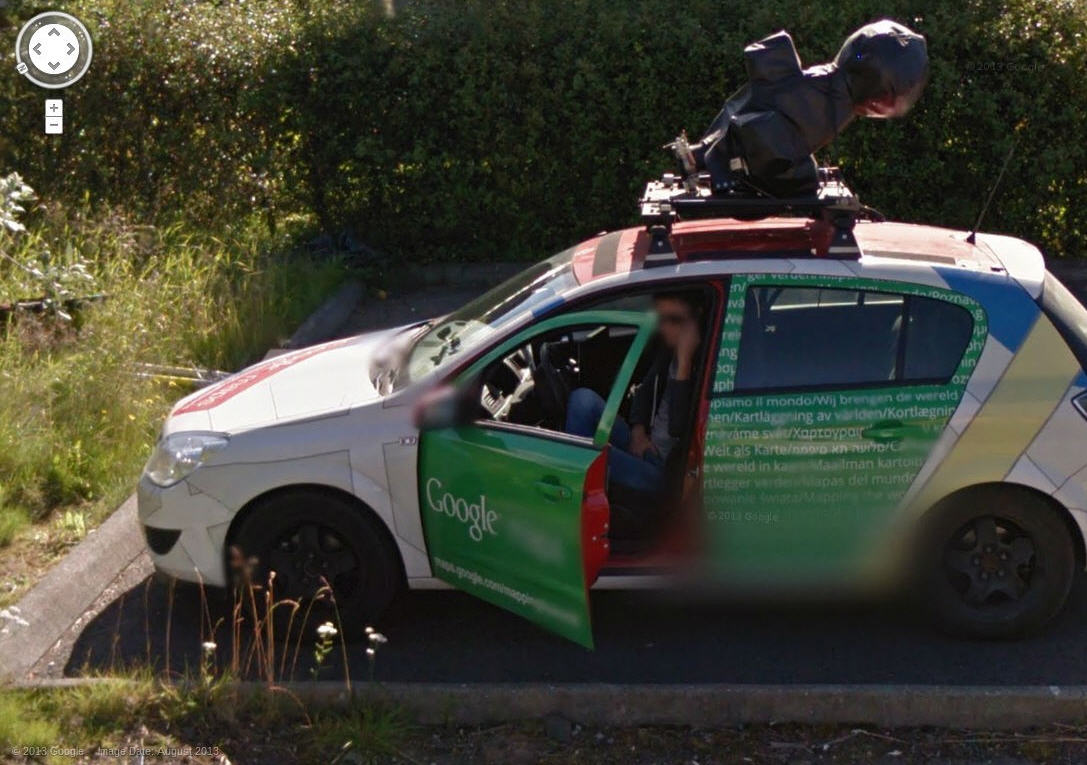 Google Street View Iceland Driver Taking a Break