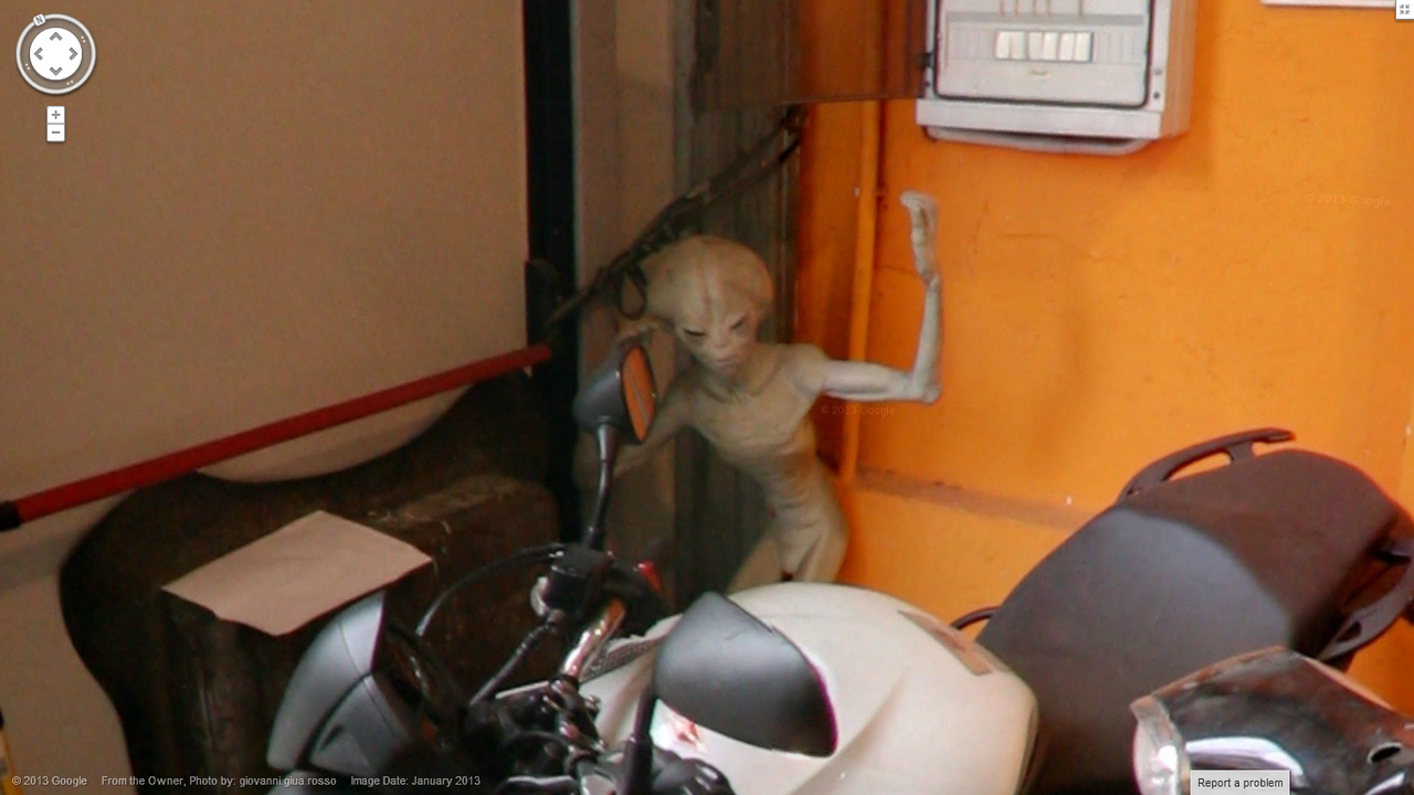 Google Street View Discovers an Alien Lurking in a Garage