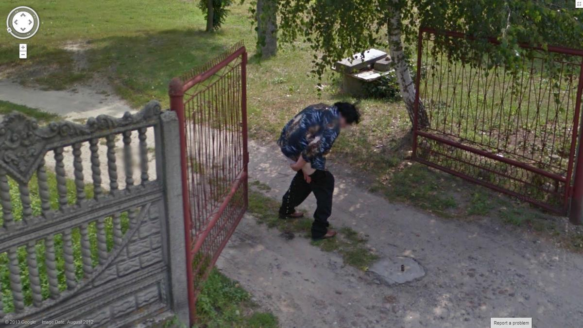 Yikes – Google Street View Captures Another Woman Taking a Pee!