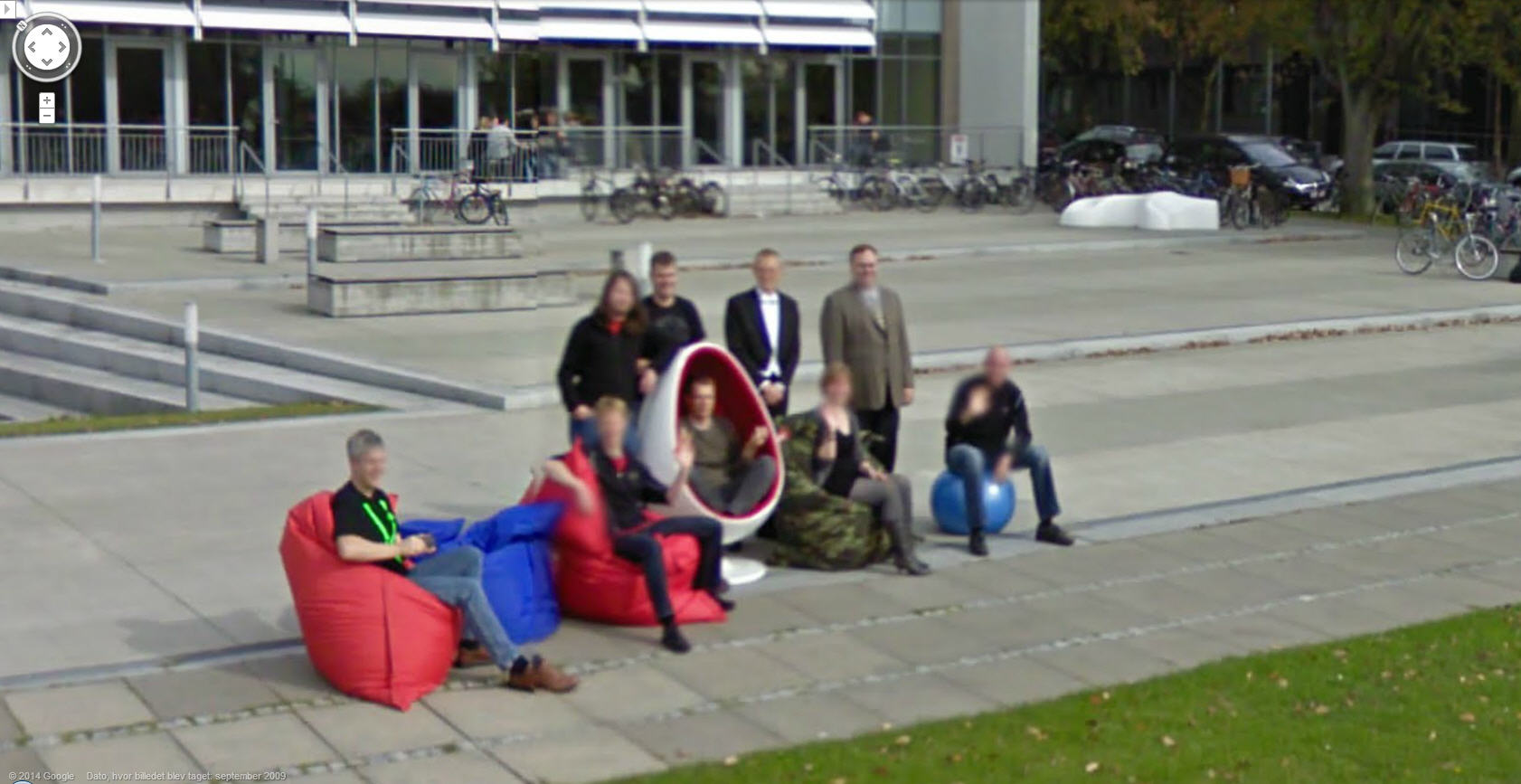 Danish people posing for Google Street View