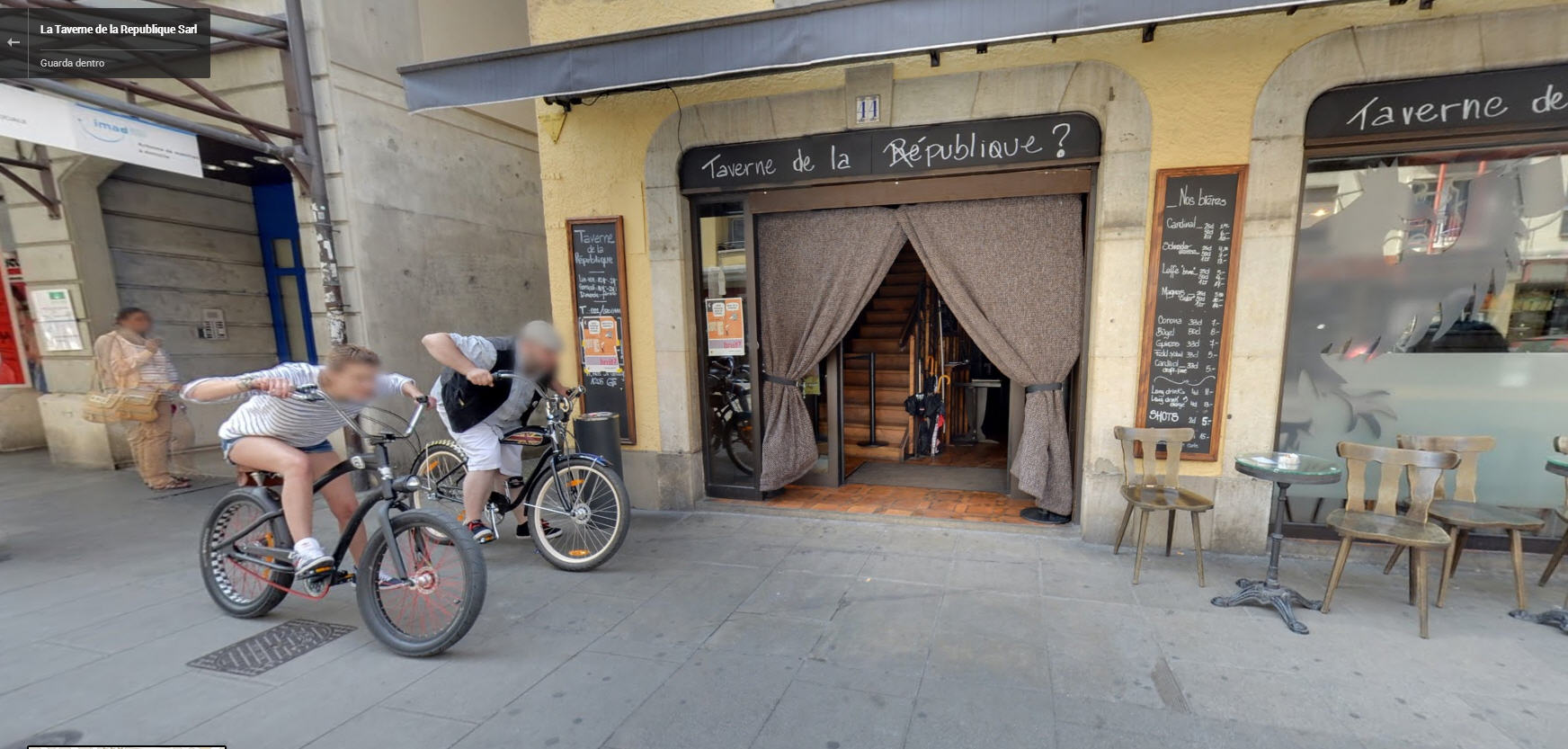 Watch these cyclists enter this bar…