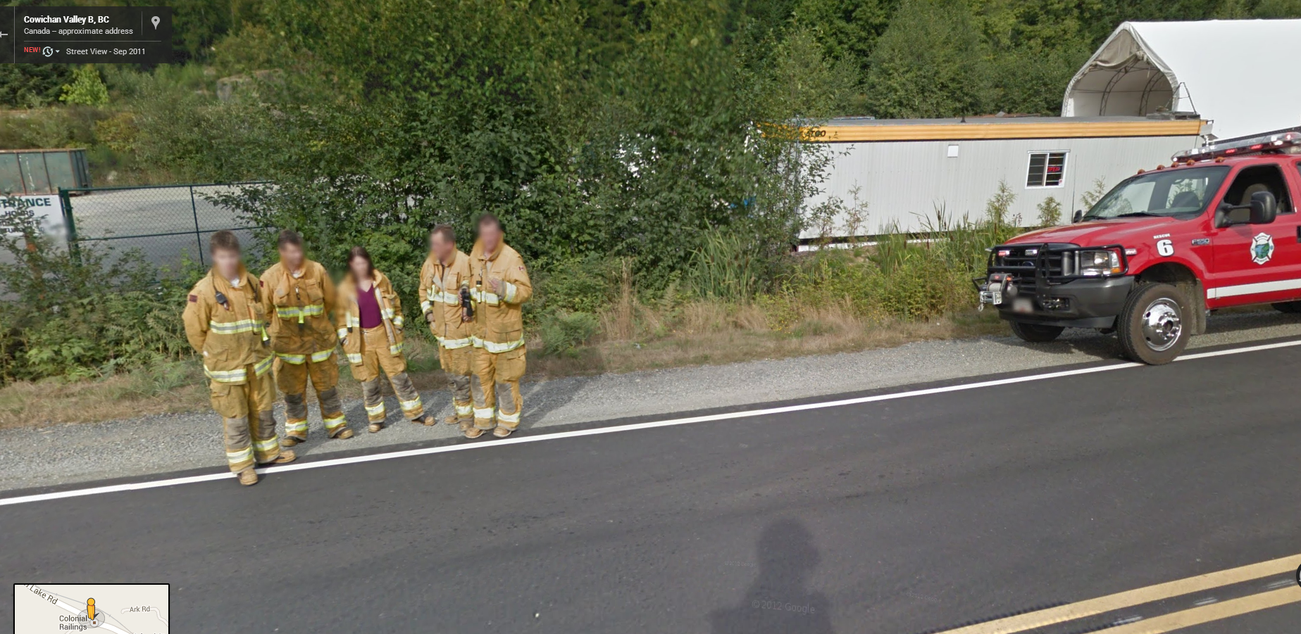 Fire Crew Pose for Google Street View