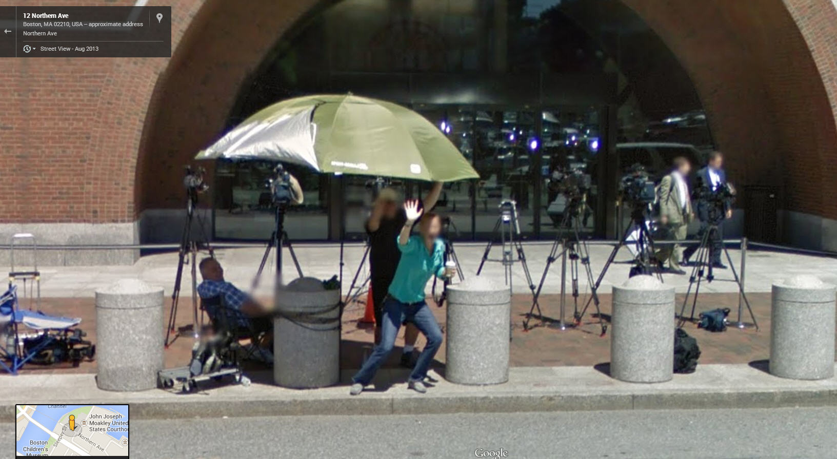 Google Street View Captures Some Bored Reporters at the Bulger trial in Boston