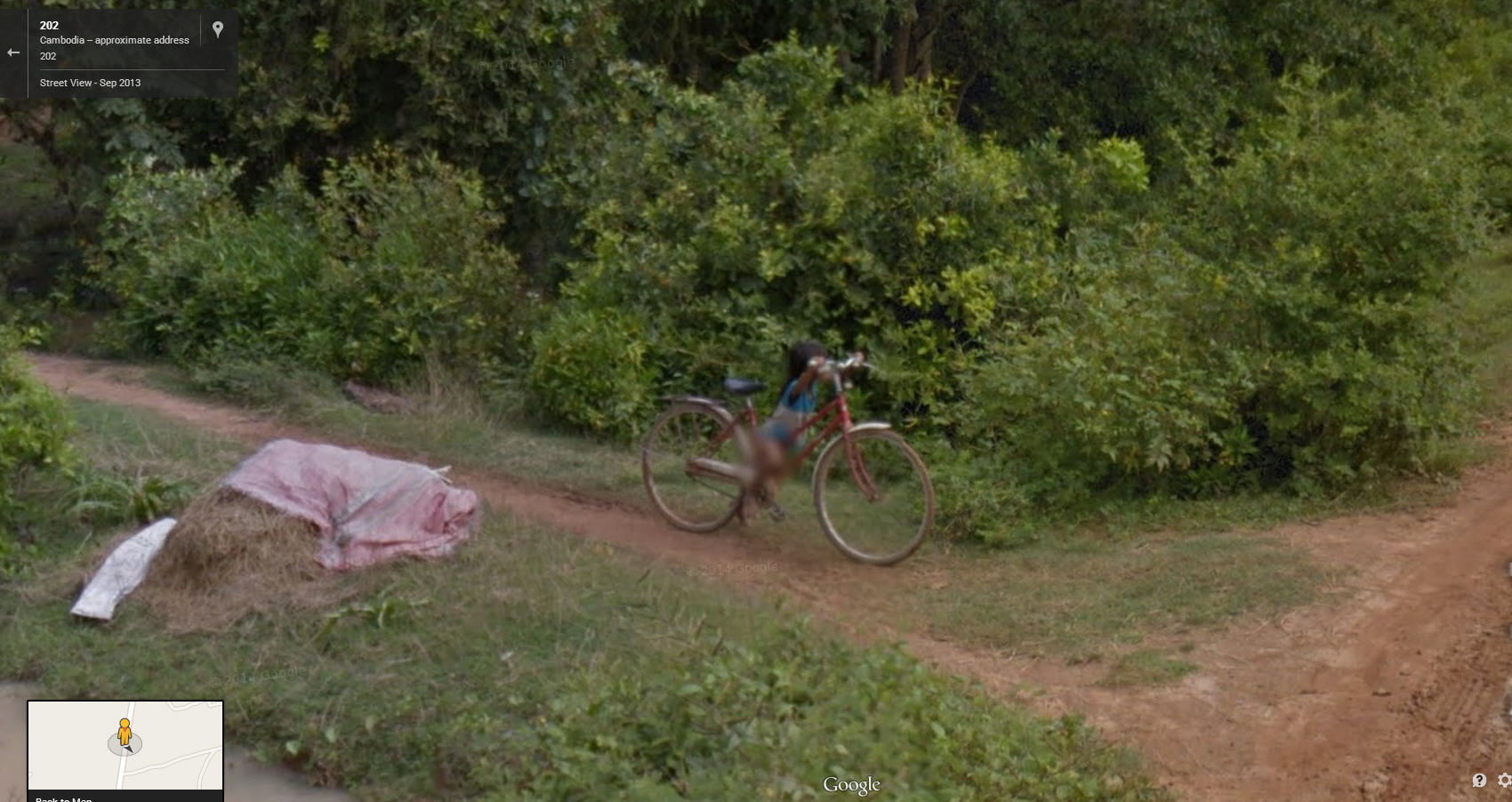 Amazing Little Cambodian Girl Riding a Very Large Bike