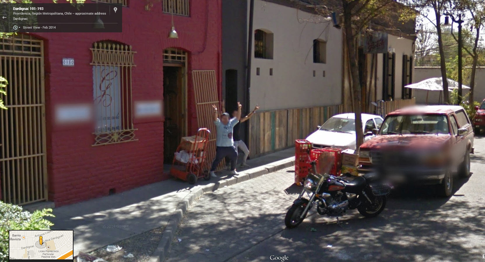 Chilean Dudes Greeting Google Street View