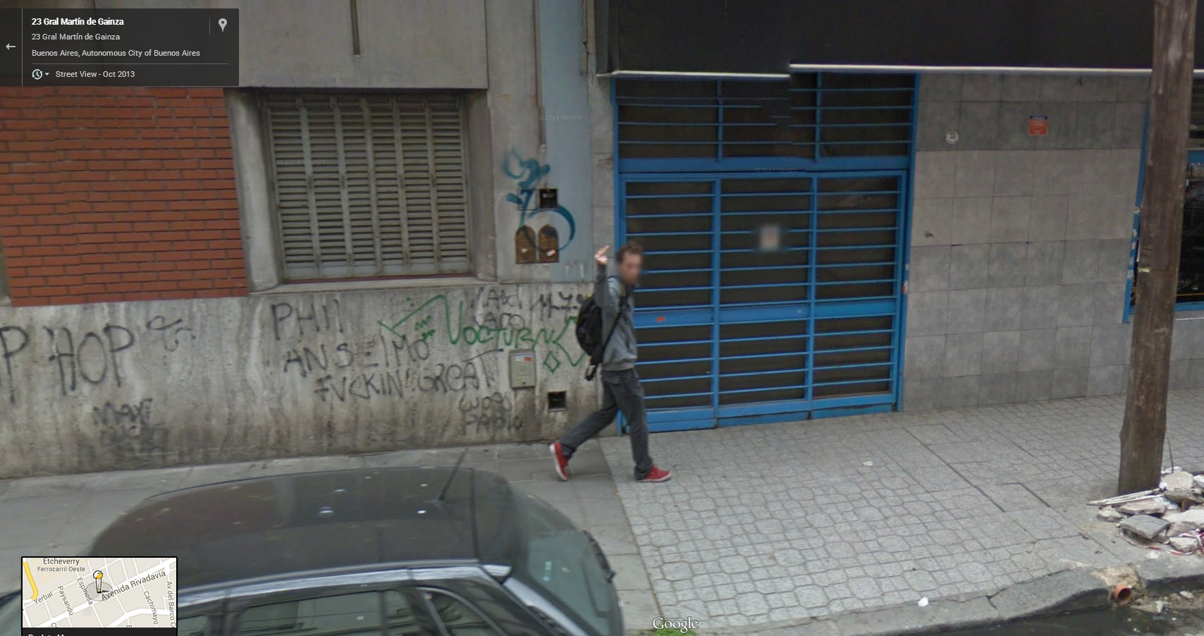 First One Finger Salute Discovered via Google Street Argentina