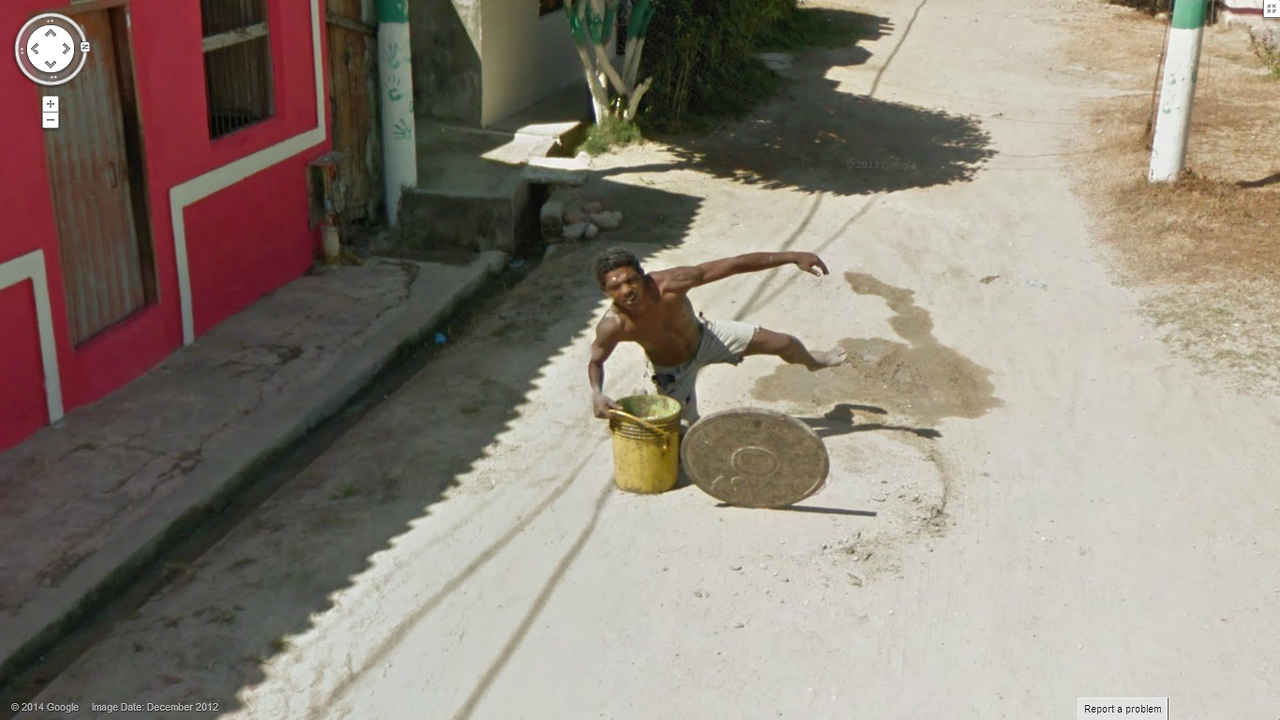 Priceless – Getting captured falling in a manhole via google street view