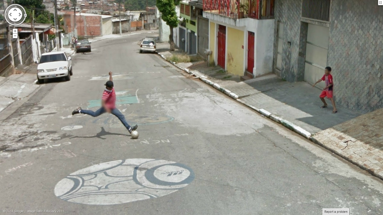 Google Street View captures an awesome soccer shot