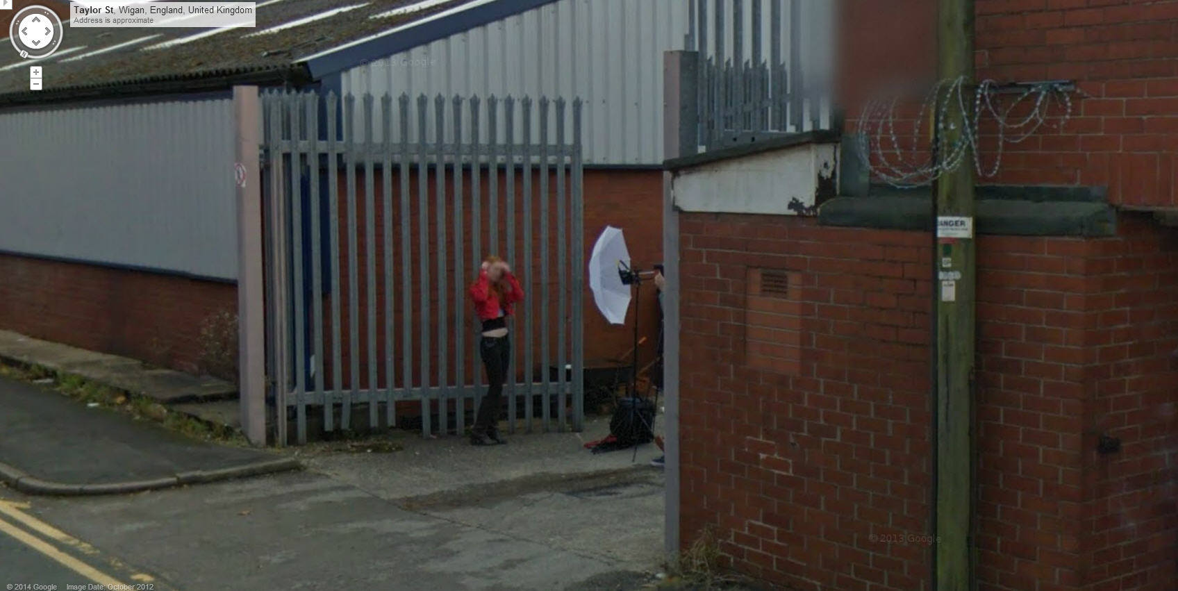 Pretty UK Girl Getting Shot with Umbrella Ray Gun in a back alley