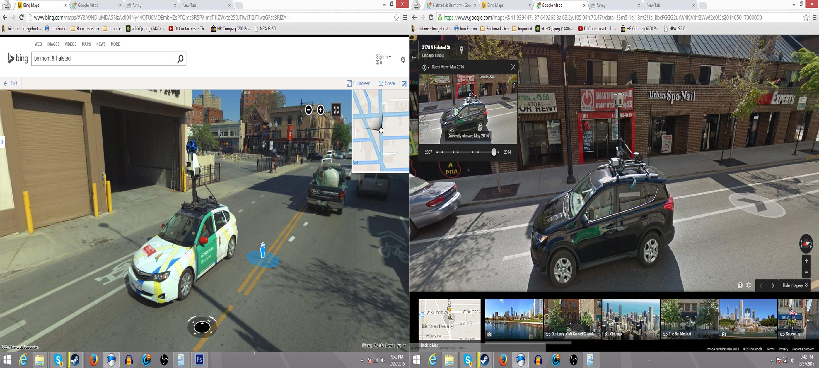 Google Street View and Bing Maps Streetside View collide (sorta)